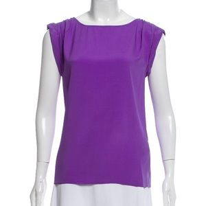 Alice + Olivia Purple Silk Short Sleeve Top